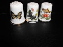 3 X ELEGANT BONE CHINA THIMBLES THREE DIFFERENT BUTTERFLY DESIGNS GREAT COND